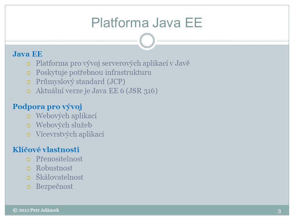 Architektura Integrační vrstva (EIS Tear) Jiný IS Databáze Aplikační vrstva (Business Tier) Webová vrstva (Web tier) Klientská vrstva (Client Tier) Client computer Application server DB/IS server SpringEJB Desktop application Web Browser Mobile application Servlety JSP JDBCORM Prezentační vrstva Aplikační logika Perzistence dat JSF 4