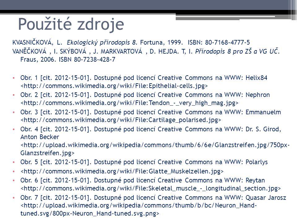 Použité zdroje KVASNIČKOVÁ, L. Ekologický přírodopis 8. Fortuna, 1999. ISBN: 80-7168-4777-5 VANĚČKOVÁ, I. SKÝBOVÁ, J. MARKVARTOVÁ, D. HEJDA. T, I. Pří