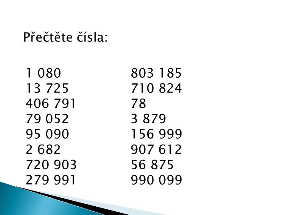 Přečtěte čísla: 1 080 13 725 406 791 79 052 95 090 2 682 720 903 279 991 803 185 710 824 78 3 879 156 999 907 612 56 875 990 099