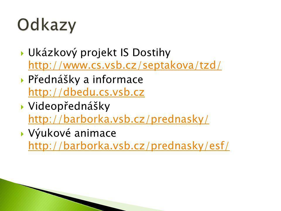  Ukázkový projekt IS Dostihy http://www.cs.vsb.cz/septakova/tzd/ http://www.cs.vsb.cz/septakova/tzd/  Přednášky a informace http://dbedu.cs.vsb.cz h