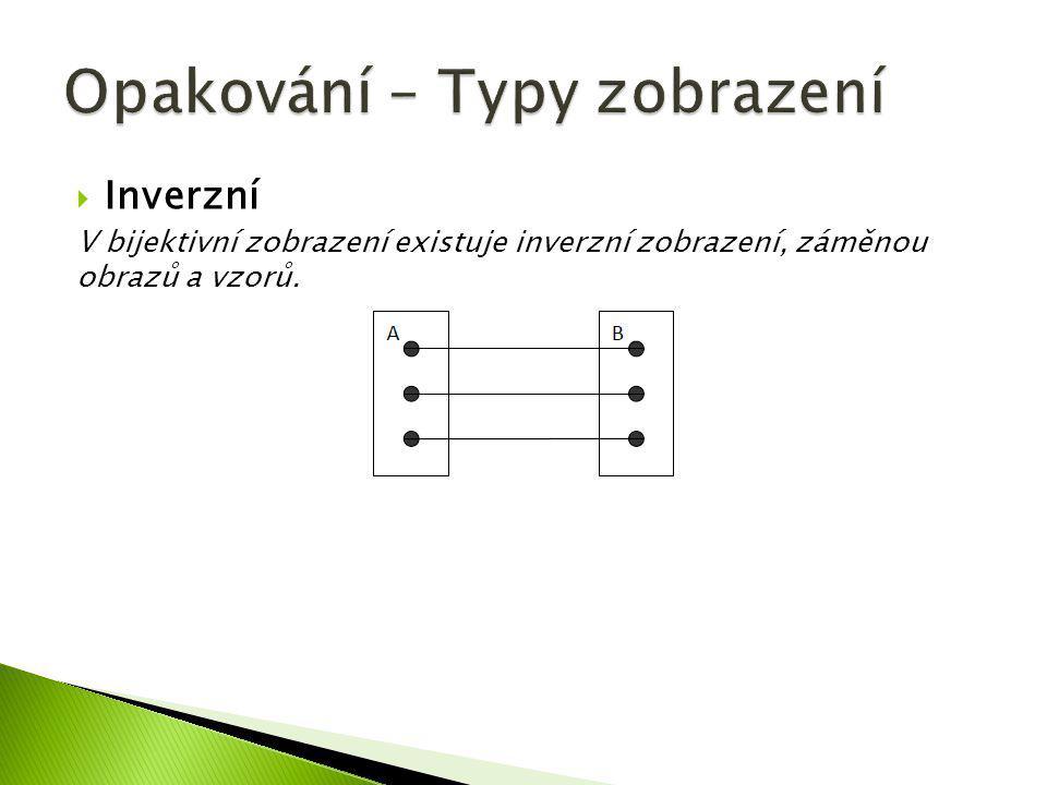  Inverzní V bijektivní zobrazení existuje inverzní zobrazení, záměnou obrazů a vzorů.
