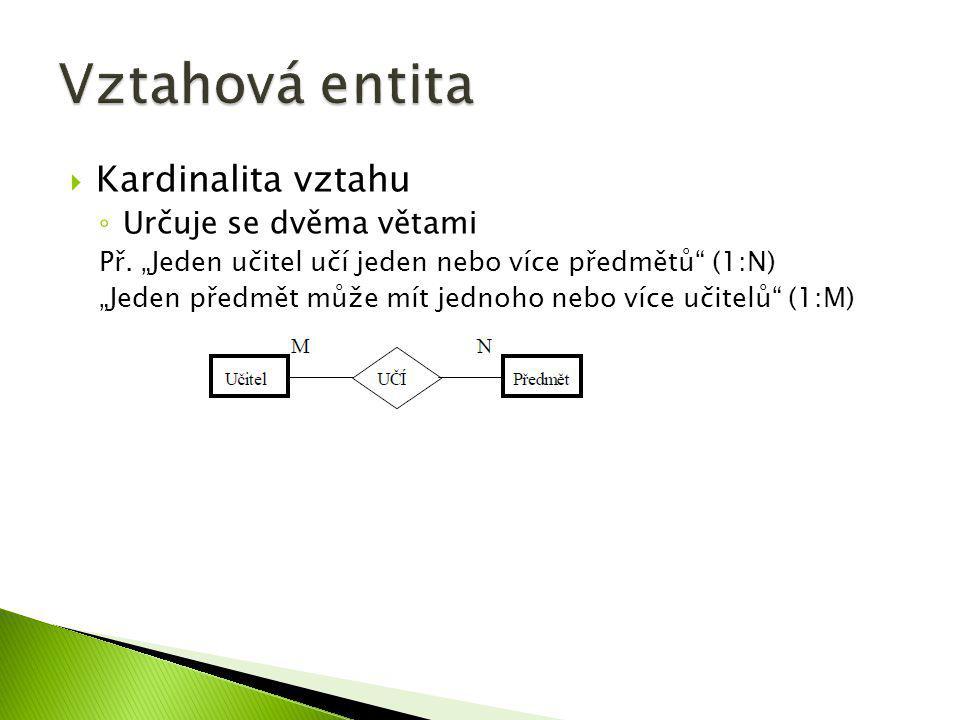 """ Kardinalita vztahu ◦ Určuje se dvěma větami Př. """"Jeden učitel učí jeden nebo více předmětů"""" (1:N) """"Jeden předmět může mít jednoho nebo více učitelů"""""""