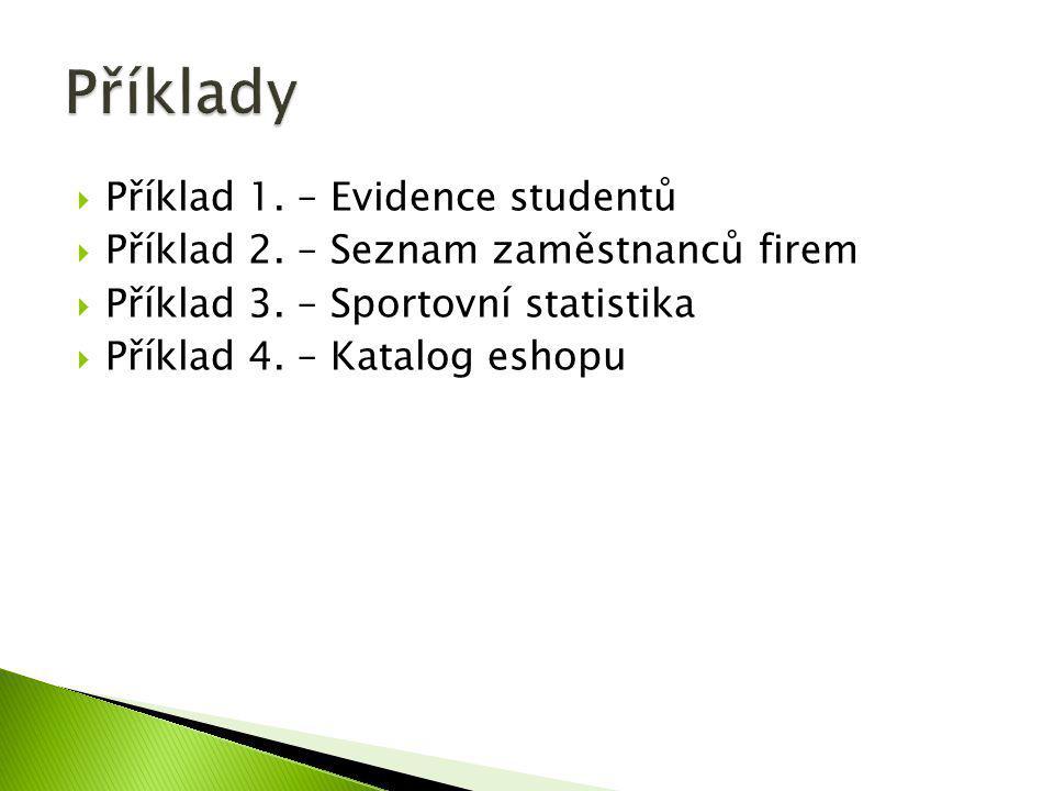  Příklad 1. – Evidence studentů  Příklad 2. – Seznam zaměstnanců firem  Příklad 3. – Sportovní statistika  Příklad 4. – Katalog eshopu