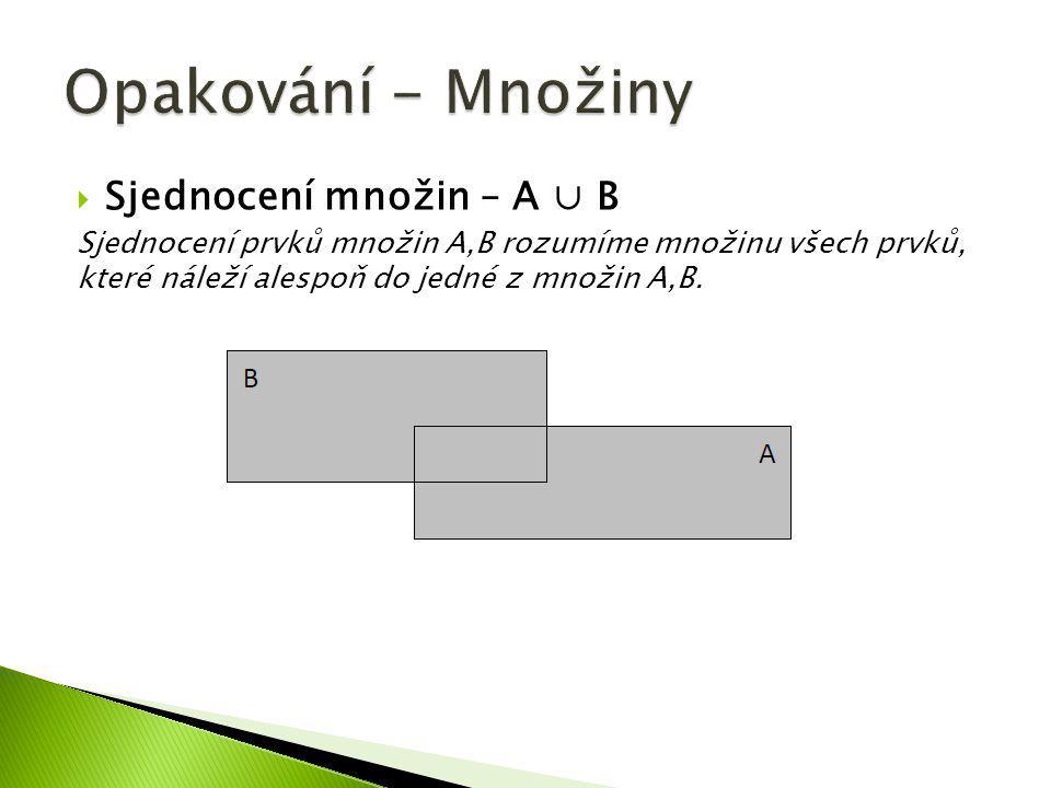  Sjednocení množin – A ∪ B Sjednocení prvků množin A,B rozumíme množinu všech prvků, které náleží alespoň do jedné z množin A,B.