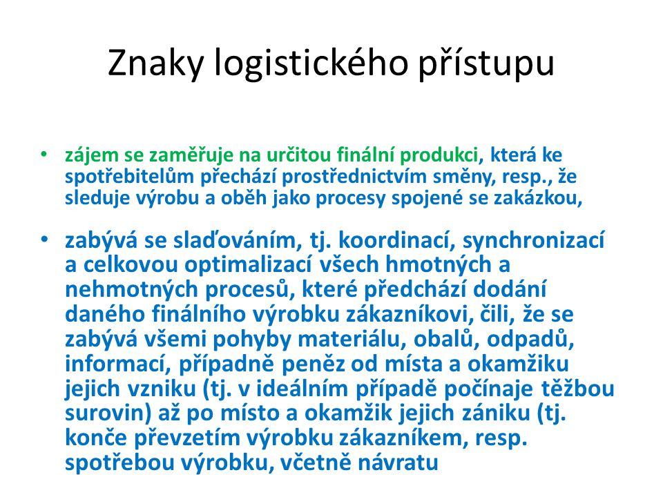 Znaky logistického přístupu • zájem se zaměřuje na určitou finální produkci, která ke spotřebitelům přechází prostřednictvím směny, resp., že sleduje