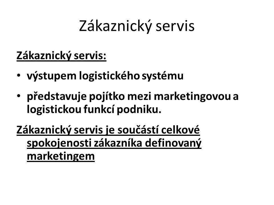 Zákaznický servis Zákaznický servis: • výstupem logistického systému • představuje pojítko mezi marketingovou a logistickou funkcí podniku. Zákaznický
