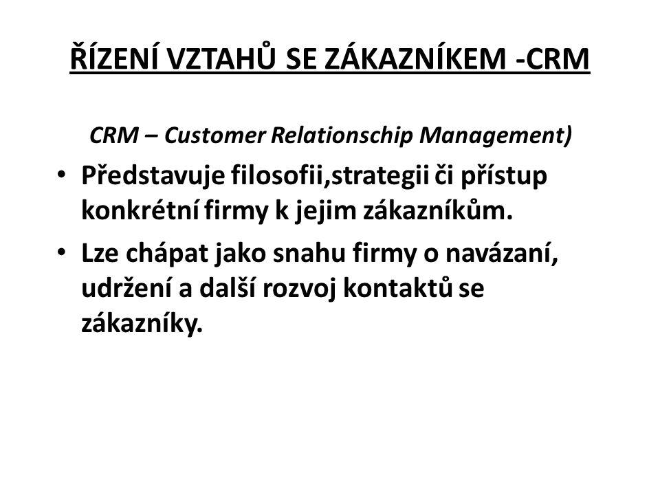 ŘÍZENÍ VZTAHŮ SE ZÁKAZNÍKEM -CRM CRM – Customer Relationschip Management) • Představuje filosofii,strategii či přístup konkrétní firmy k jejim zákazní