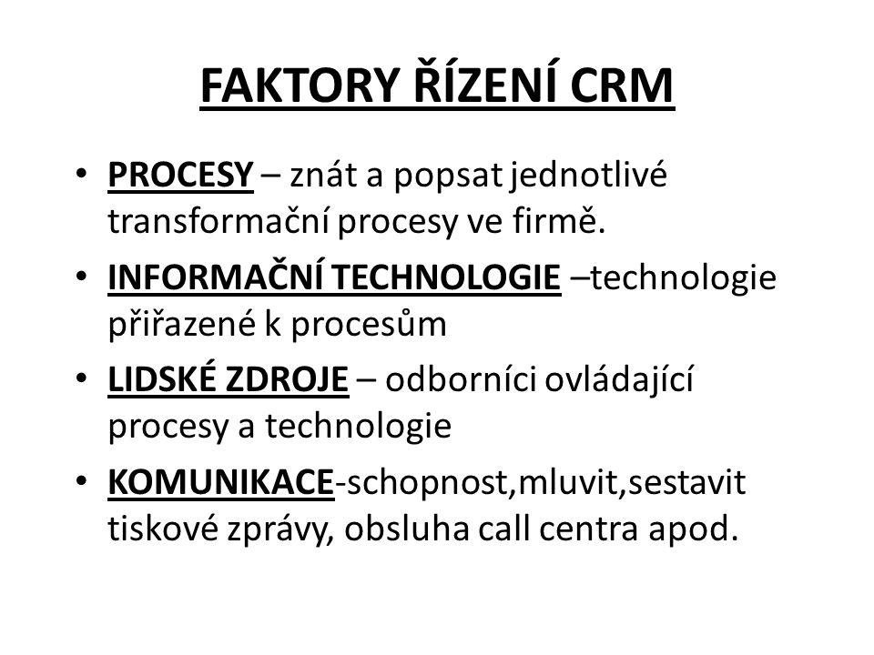 FAKTORY ŘÍZENÍ CRM • PROCESY – znát a popsat jednotlivé transformační procesy ve firmě. • INFORMAČNÍ TECHNOLOGIE –technologie přiřazené k procesům • L