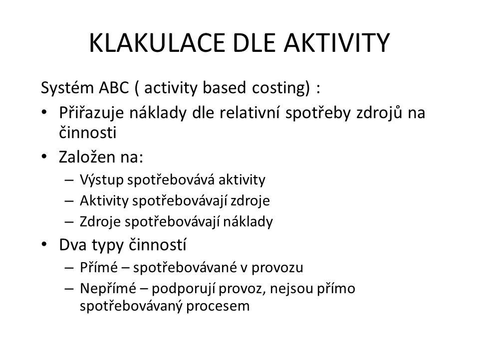 KLAKULACE DLE AKTIVITY Systém ABC ( activity based costing) : • Přiřazuje náklady dle relativní spotřeby zdrojů na činnosti • Založen na: – Výstup spo