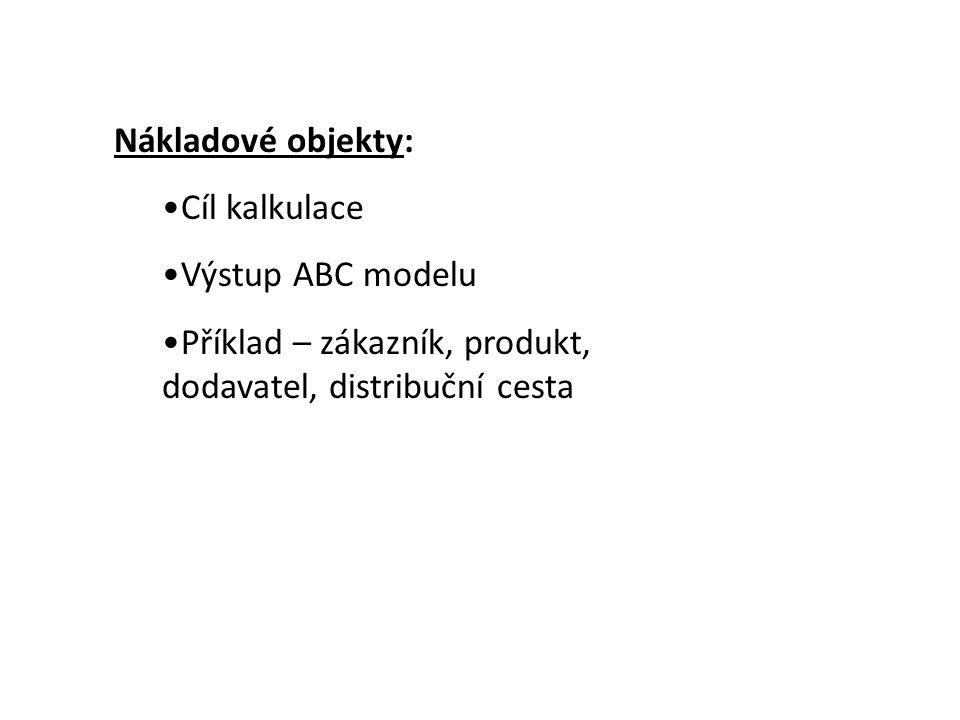 Nákladové objekty: •Cíl kalkulace •Výstup ABC modelu •Příklad – zákazník, produkt, dodavatel, distribuční cesta