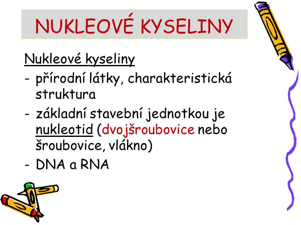 NUKLEOVÉ KYSELINY Nukleové kyseliny -přírodní látky, charakteristická struktura -základní stavební jednotkou je nukleotid (dvojšroubovice nebo šroubov