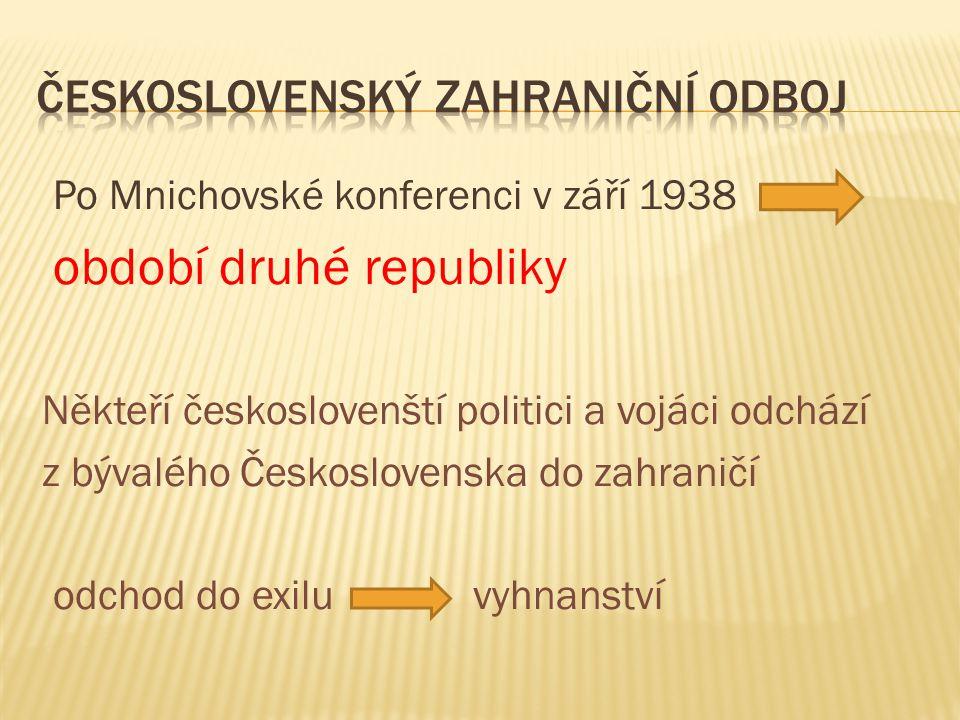 Po Mnichovské konferenci v září 1938 období druhé republiky Někteří českoslovenští politici a vojáci odchází z bývalého Československa do zahraničí odchod do exilu vyhnanství