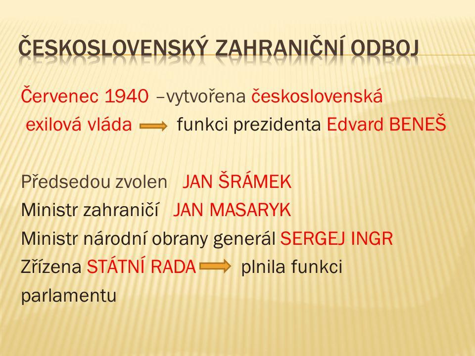 V roce 1940 uznala Velká Británie naši exilovou vládu za právoplatného zástupce československého lidu Československá jednotka Legion Čechů a Slováků vznikla v Polsku,po kapitulaci Polska přešla část jednotky do Rumunska,většina s velitelem LUDVÍKEM SVOBODOU zajata a internována do SSSR
