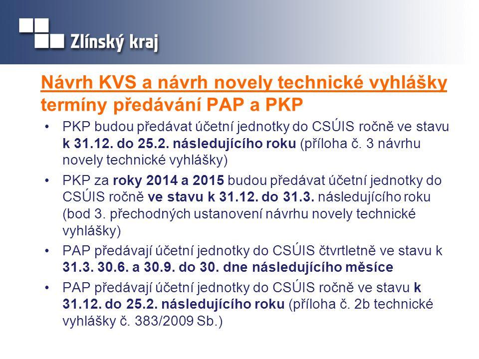 Návrh KVS a návrh novely technické vyhlášky termíny předávání PAP a PKP •PKP budou předávat účetní jednotky do CSÚIS ročně ve stavu k 31.12. do 25.2.