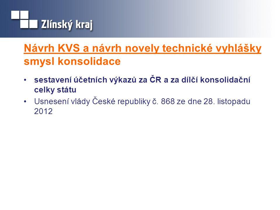 Návrh KVS a návrh novely technické vyhlášky smysl konsolidace •sestavení účetních výkazů za ČR a za dílčí konsolidační celky státu •Usnesení vlády Čes