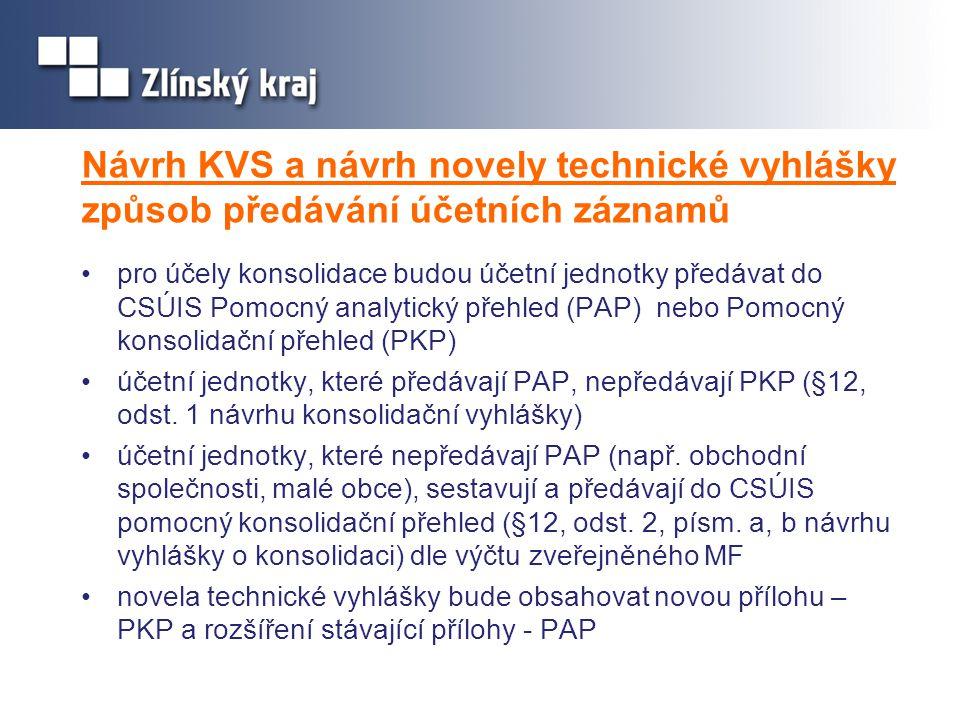 Návrh KVS a návrh novely technické vyhlášky způsob předávání účetních záznamů •pro účely konsolidace budou účetní jednotky předávat do CSÚIS Pomocný a