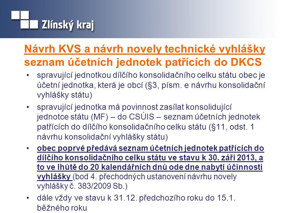 Návrh KVS a návrh novely technické vyhlášky seznam účetních jednotek patřících do DKCS •spravující jednotkou dílčího konsolidačního celku státu obec j