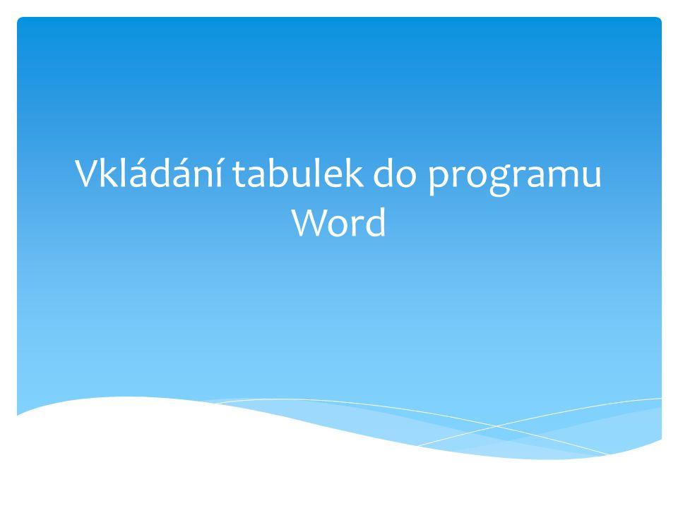 Vkládání tabulek do programu Word