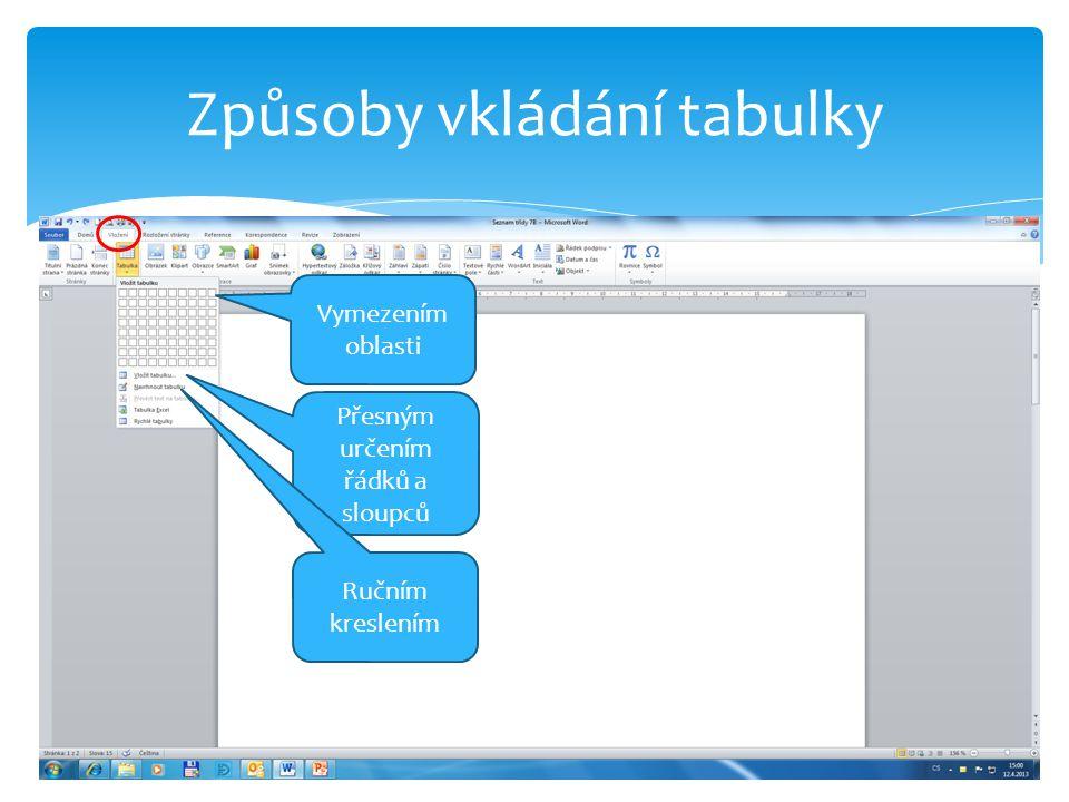 Způsoby vkládání tabulky Vymezením oblasti Přesným určením řádků a sloupců Ručním kreslením