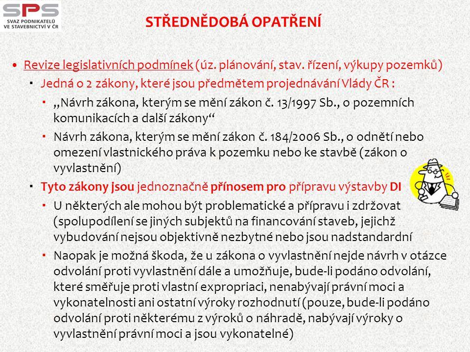 STŘEDNĚDOBÁ OPATŘENÍ  Revize legislativních podmínek (úz. plánování, stav. řízení, výkupy pozemků)  Jedná o 2 zákony, které jsou předmětem projednáv
