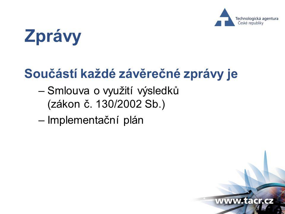 Zprávy Součástí každé závěrečné zprávy je –Smlouva o využití výsledků (zákon č.