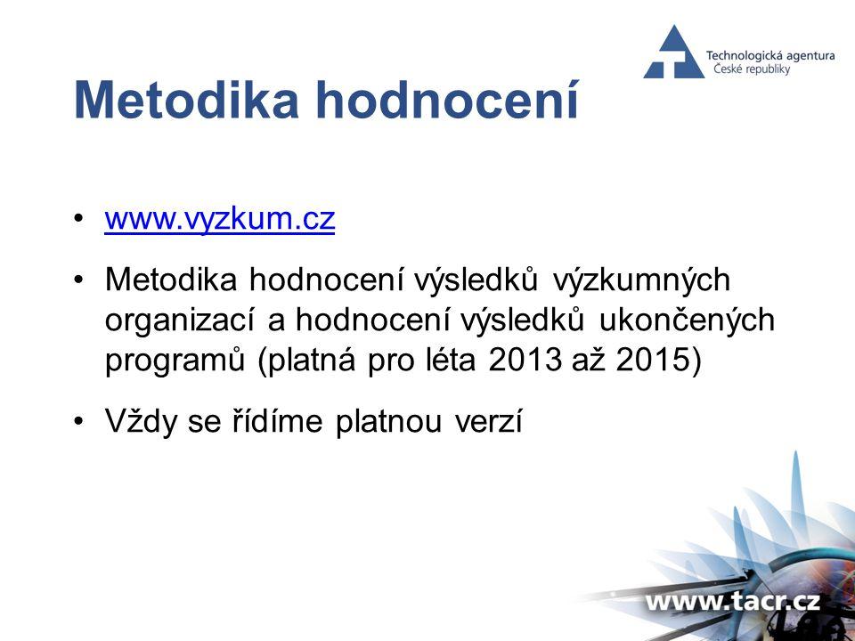 Metodika hodnocení •www.vyzkum.czwww.vyzkum.cz •Metodika hodnocení výsledků výzkumných organizací a hodnocení výsledků ukončených programů (platná pro léta 2013 až 2015) •Vždy se řídíme platnou verzí