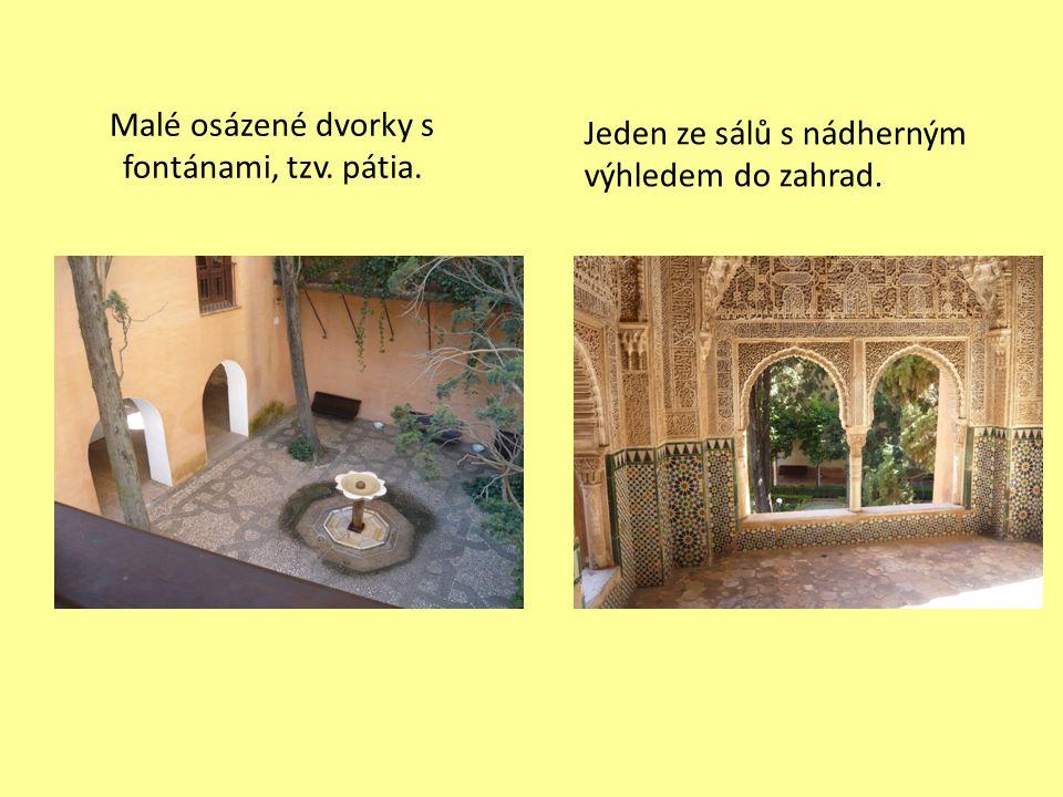 Malé osázené dvorky s fontánami, tzv. pátia. Jeden ze sálů s nádherným výhledem do zahrad.