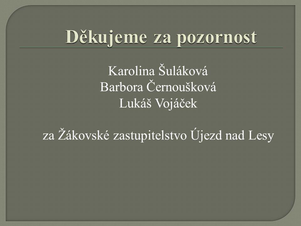Karolina Šuláková Barbora Černoušková Lukáš Vojáček za Žákovské zastupitelstvo Újezd nad Lesy