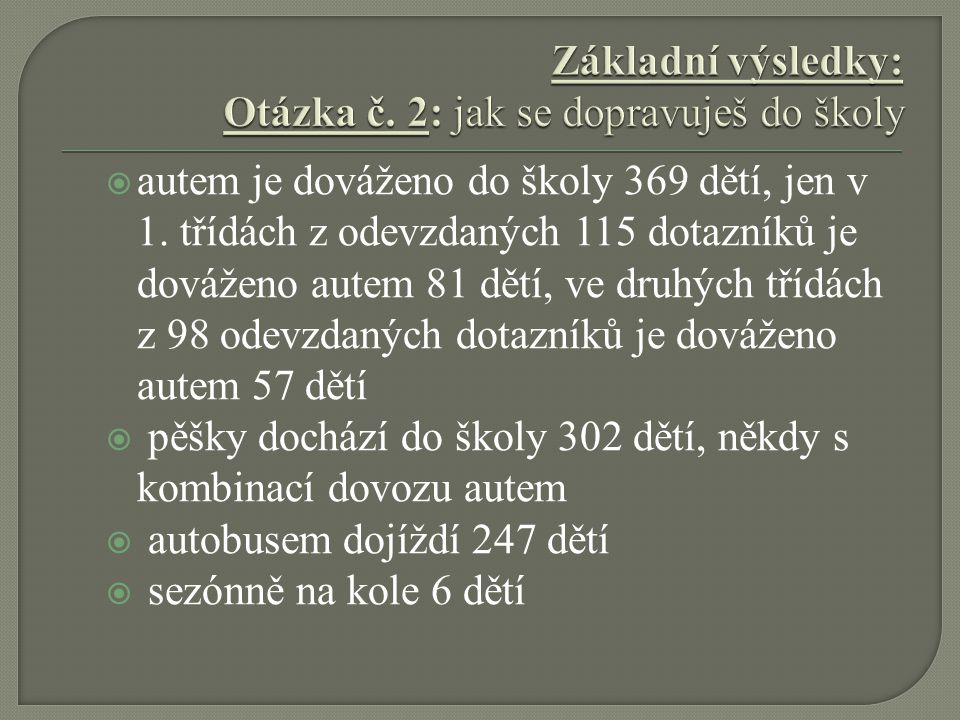  autem je dováženo do školy 369 dětí, jen v 1.