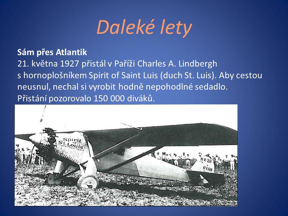 Daleké lety Sám přes Atlantik 21. května 1927 přistál v Paříži Charles A. Lindbergh s hornoplošníkem Spirit of Saint Luis (duch St. Luis). Aby cestou
