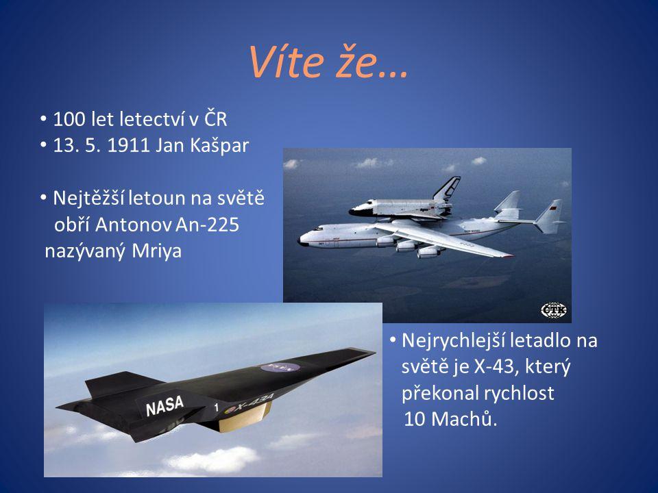Víte že… • 100 let letectví v ČR • 13. 5. 1911 Jan Kašpar • Nejtěžší letoun na světě obří Antonov An-225 nazývaný Mriya • Nejrychlejší letadlo na svět