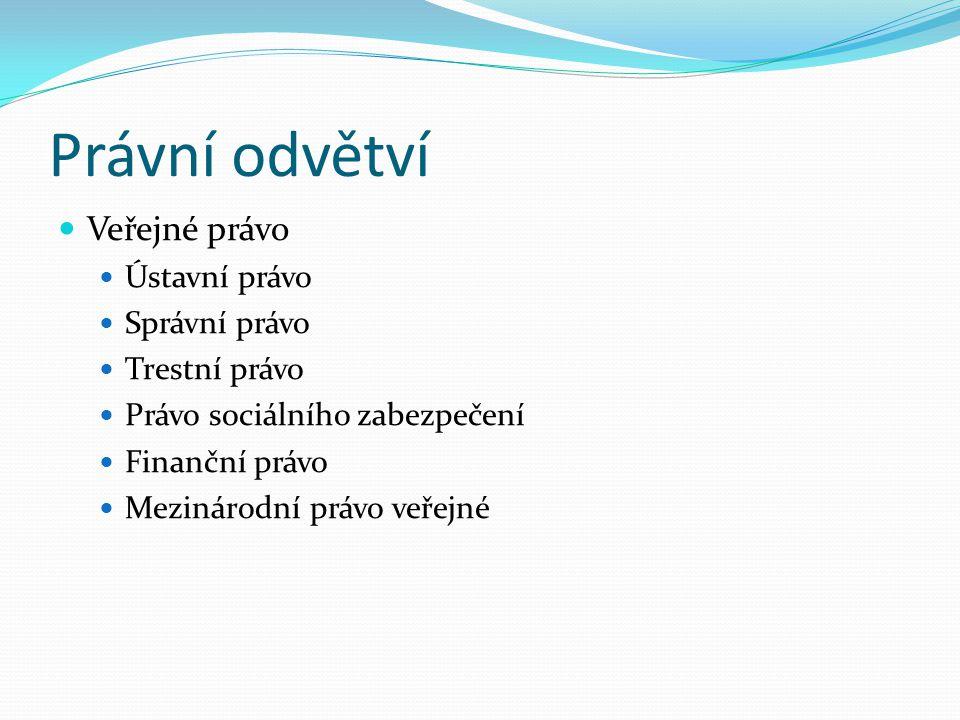 Právní odvětví  Veřejné právo  Ústavní právo  Správní právo  Trestní právo  Právo sociálního zabezpečení  Finanční právo  Mezinárodní právo veřejné