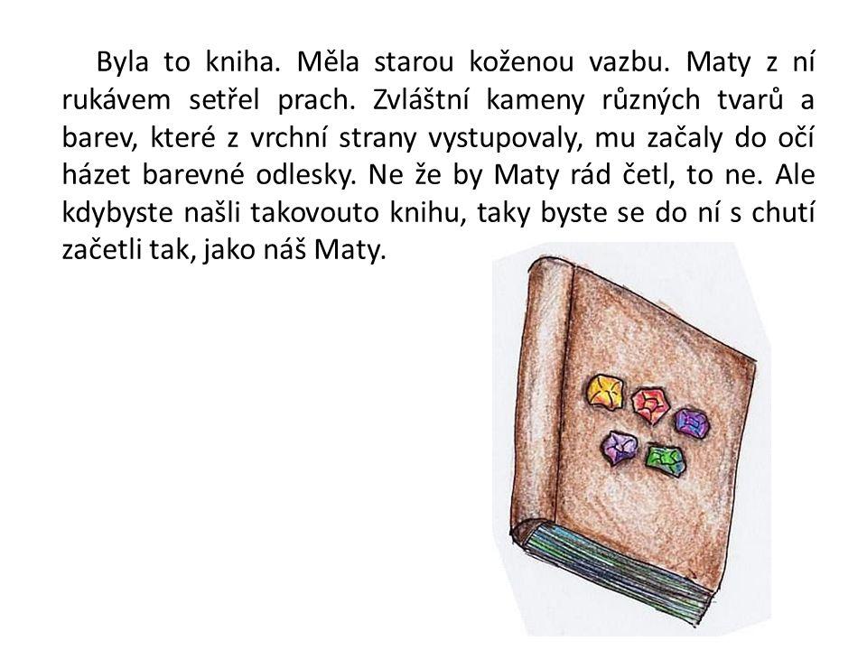 Byla to kniha. Měla starou koženou vazbu. Maty z ní rukávem setřel prach. Zvláštní kameny různých tvarů a barev, které z vrchní strany vystupovaly, mu