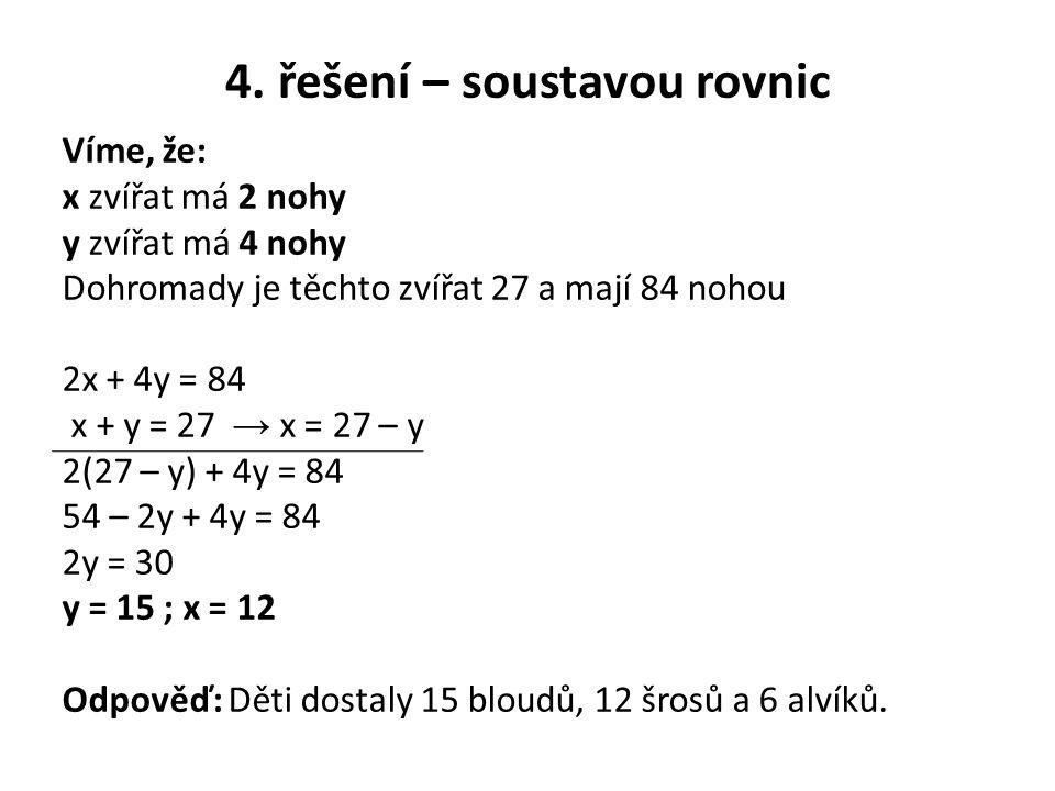 4. řešení – soustavou rovnic Víme, že: x zvířat má 2 nohy y zvířat má 4 nohy Dohromady je těchto zvířat 27 a mají 84 nohou 2x + 4y = 84 x + y = 27 → x