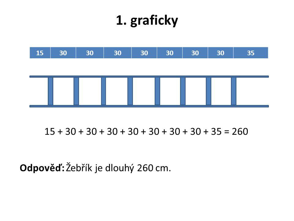 1. graficky 1530 35 15 + 30 + 30 + 30 + 30 + 30 + 30 + 30 + 35 = 260 Odpověď: Žebřík je dlouhý 260 cm.