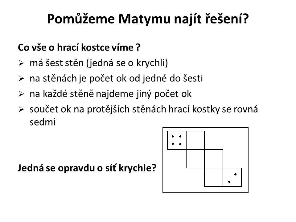 Pomůžeme Matymu najít řešení? Co vše o hrací kostce víme ?  má šest stěn (jedná se o krychli)  na stěnách je počet ok od jedné do šesti  na každé s