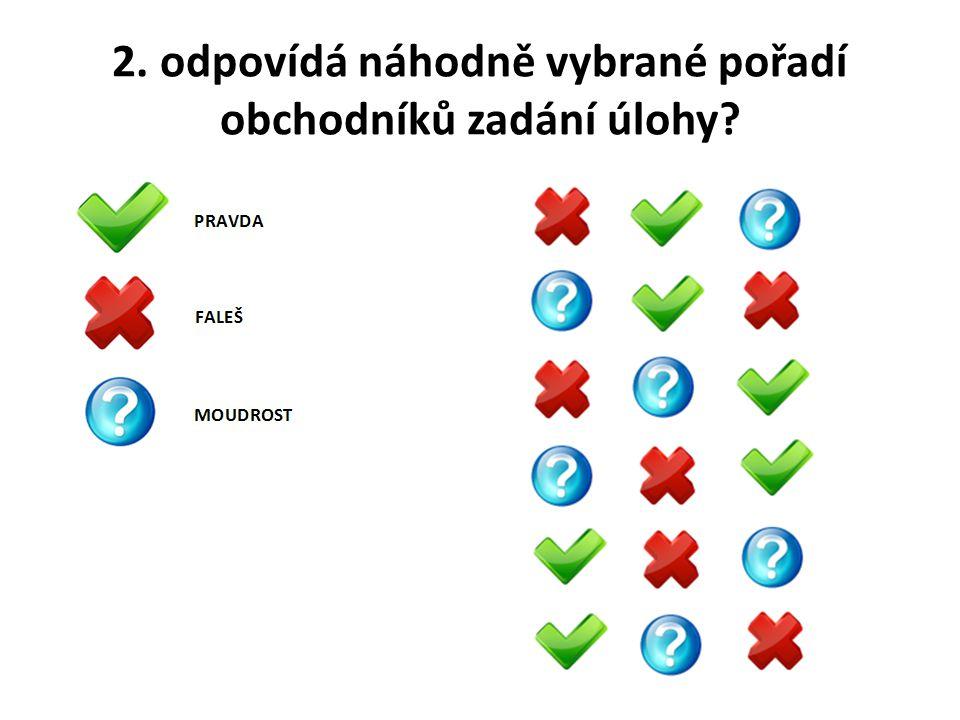 2. odpovídá náhodně vybrané pořadí obchodníků zadání úlohy?