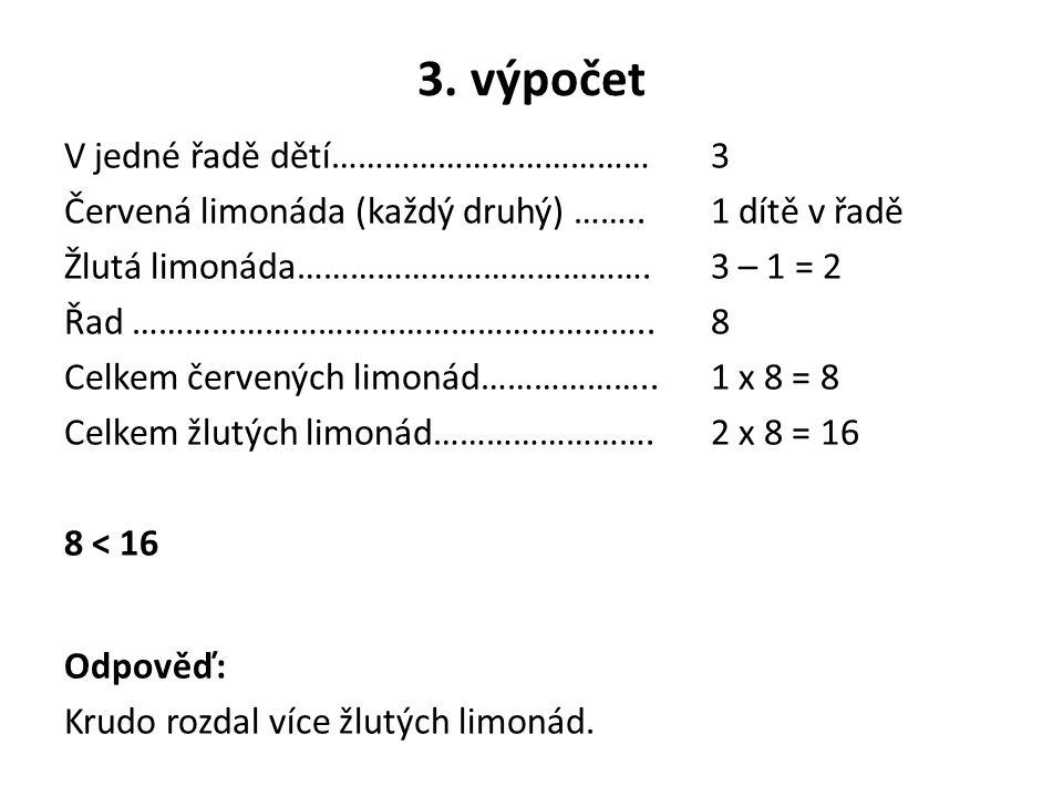 3. výpočet V jedné řadě dětí………………………………3 Červená limonáda (každý druhý) ……..1 dítě v řadě Žlutá limonáda………………………………….3 – 1 = 2 Řad ……………………………………………