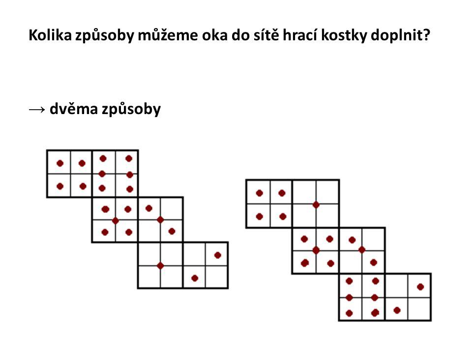 2.doplnění ok do sítě podle hrací kostky Jsou na všech hracích kostkách oka rozmístěna stejně.