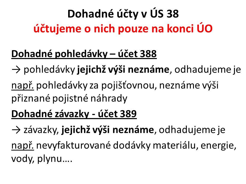 Dohadné účty v ÚS 38 účtujeme o nich pouze na konci ÚO Dohadné pohledávky – účet 388 → pohledávky jejichž výši neznáme, odhadujeme je např. pohledávky