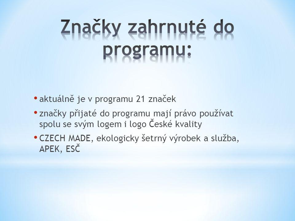 • aktuálně je v programu 21 značek • značky přijaté do programu mají právo používat spolu se svým logem i logo České kvality • CZECH MADE, ekologicky šetrný výrobek a služba, APEK, ESČ