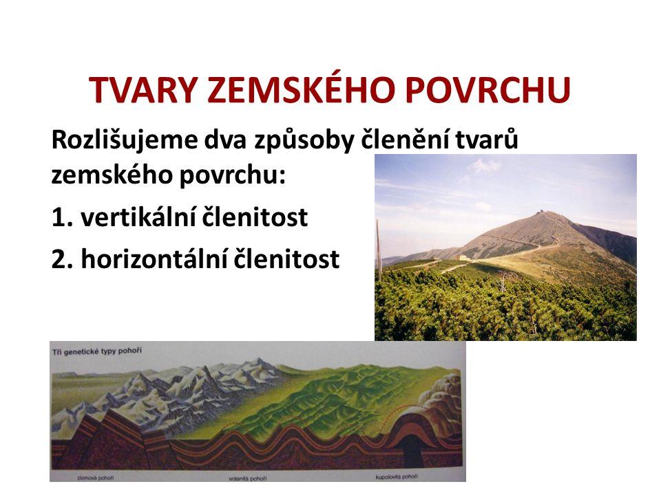 TVARY ZEMSKÉHO POVRCHU Doplň tabulku: PohoříNejvyšší vrchol Nadmořská výška (m n.