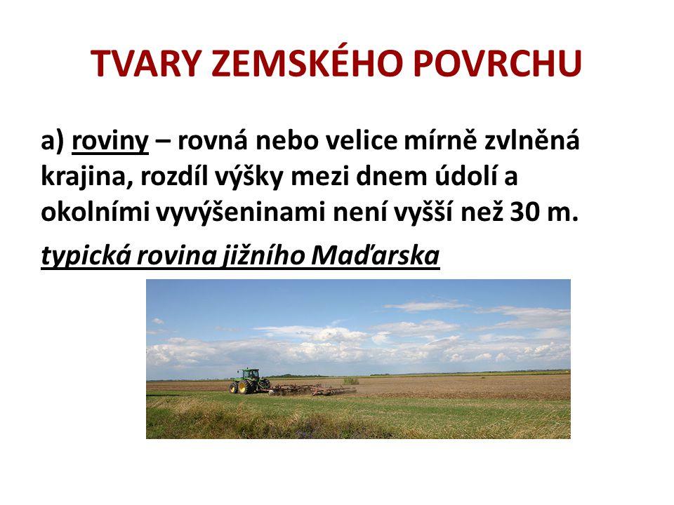 TVARY ZEMSKÉHO POVRCHU a) roviny – rovná nebo velice mírně zvlněná krajina, rozdíl výšky mezi dnem údolí a okolními vyvýšeninami není vyšší než 30 m.