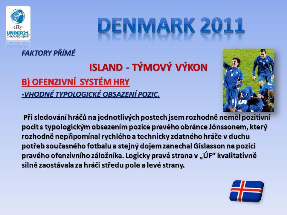 FAKTORY PŘÍMÉ ISLAND - TÝMOVÝ VÝKON ISLAND - TÝMOVÝ VÝKON B) OFENZIVNÍ SYSTÉM HRY -VHODNÉ TYPOLOGICKÉ OBSAZENÍ POZIC. Při sledování hráčů na jednotliv