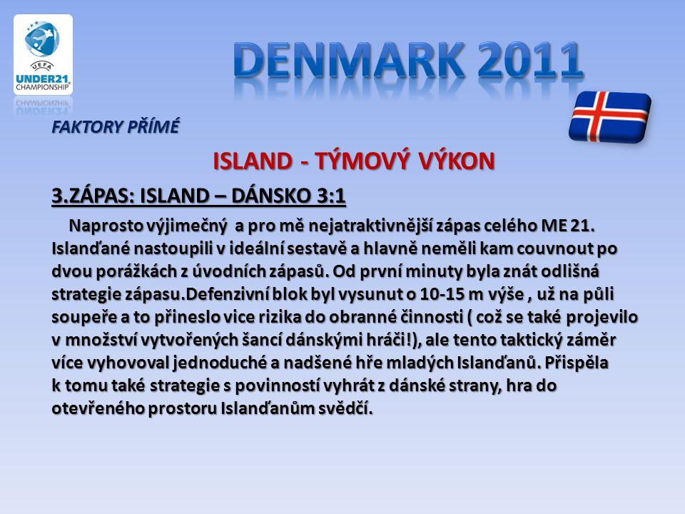 FAKTORY PŘÍMÉ ISLAND - TÝMOVÝ VÝKON ISLAND - TÝMOVÝ VÝKON 3.ZÁPAS: ISLAND – DÁNSKO 3:1 Naprosto výjimečný a pro mě nejatraktivnější zápas celého ME 21