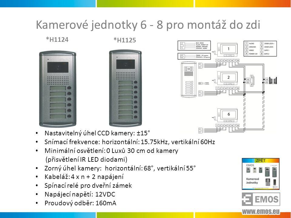 Kamerové jednotky 6 - 8 pro montáž do zdi • Nastavitelný úhel CCD kamery: ±15° • Snímací frekvence: horizontální: 15.75kHz, vertikální 60Hz • Minimáln