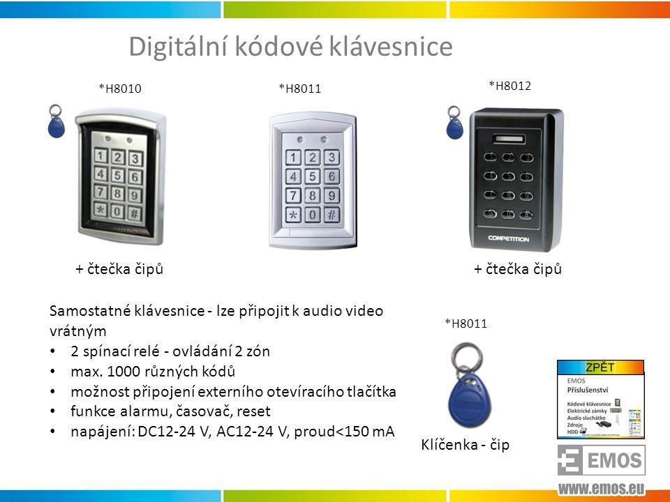 Digitální kódové klávesnice Samostatné klávesnice - lze připojit k audio video vrátným • 2 spínací relé - ovládání 2 zón • max. 1000 různých kódů • mo