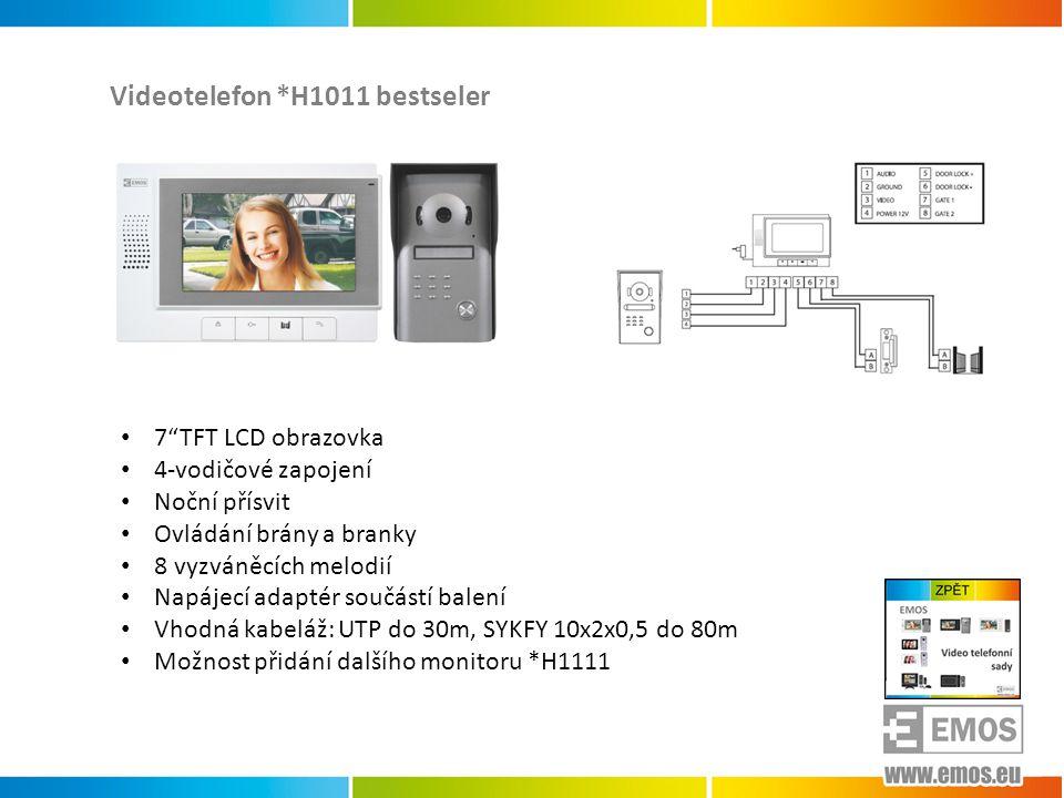Videotelefon *H1011 bestseler • 7 TFT LCD obrazovka • 4-vodičové zapojení • Noční přísvit • Ovládání brány a branky • 8 vyzváněcích melodií • Napájecí adaptér součástí balení • Vhodná kabeláž: UTP do 30m, SYKFY 10x2x0,5 do 80m • Možnost přidání dalšího monitoru *H1111