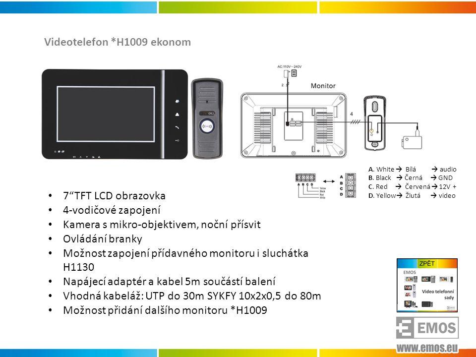*H1122 *H1120 *H1121 Kamerové jednotky 1-4 pro montáž do zdi • Nastavitelný úhel CCD kamery ±15° • Snímací frekvence: horizontální: 15.75kHz, vertikální 60Hz • Minimální osvětlení: 0 Luxů 30 cm od kamery - IR LED • Zorný úhel kamery: horizontální: 68°, vertikální 55° • Kabeláž: 4 x n + 2 napájení • Spínací relé pro dveřní zámek • Doporučený monitor *H1111 • Napájecí napětí: 12VDC (*H1122 z videotelefonu) • Proudový odběr: 160mA *H1111