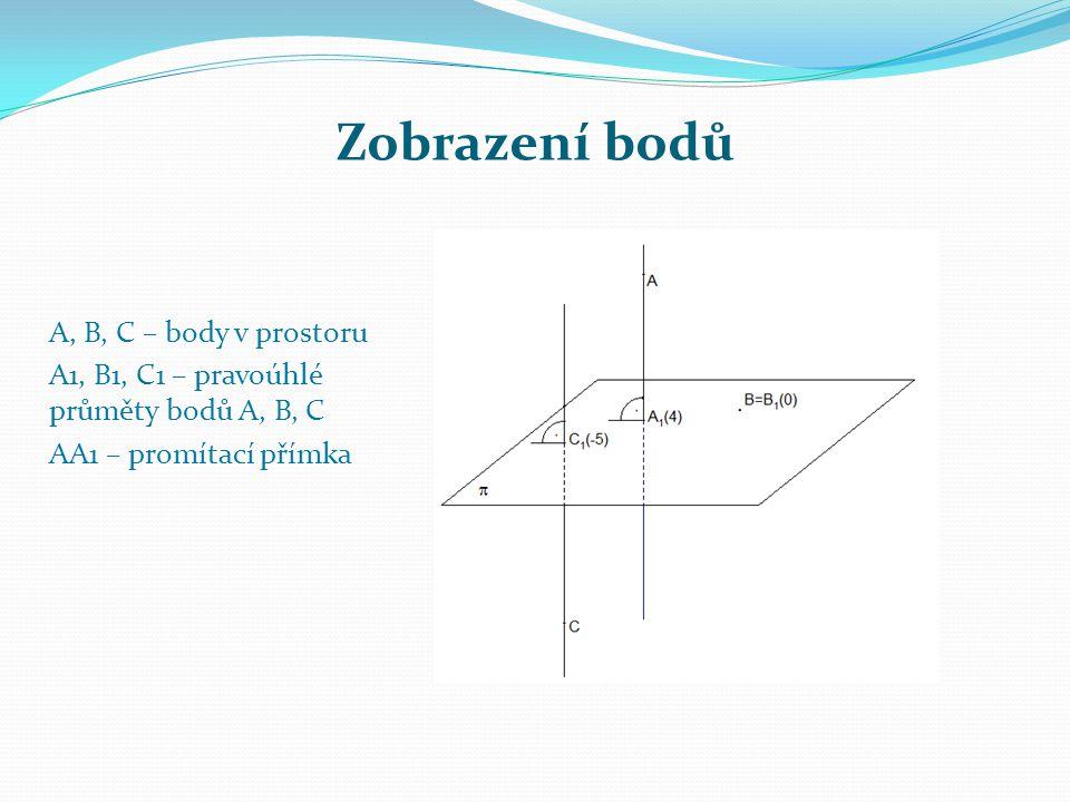 Zobrazení bodů A, B, C – body v prostoru A1, B1, C1 – pravoúhlé průměty bodů A, B, C AA1 – promítací přímka